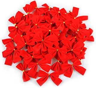 GL-Turelifes 60pcs Christmas Tree Bows Mini Red Velvet Bowknot 2.5'' Xmas Tree Ornaments Party Gift DIY décor