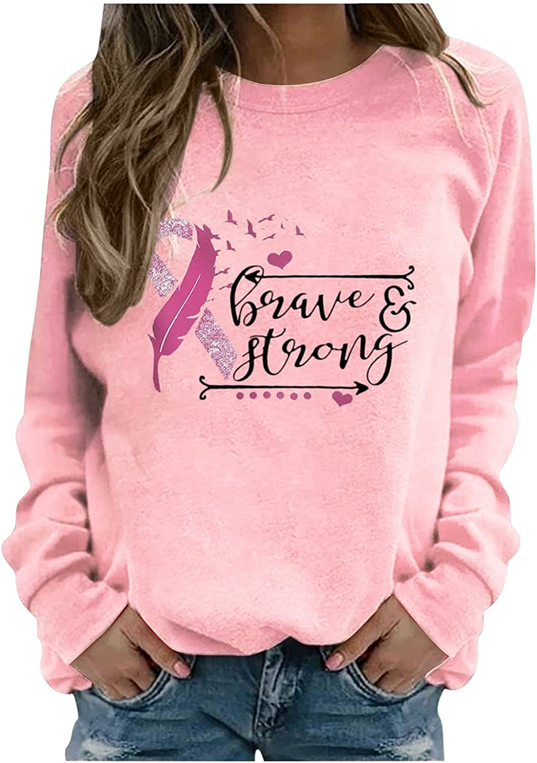 Don't miss the campaign Sweatshirts For Women Breast Cancer Month Crew Latest item Print Neck Blouse
