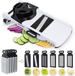 SAWAKE Mandoline Cuisine Multifonctions, 6 en 1 Trancheuse à Légumes, Découpe Les Fruits, Presse Agrume, Râpe, Mandoline S...
