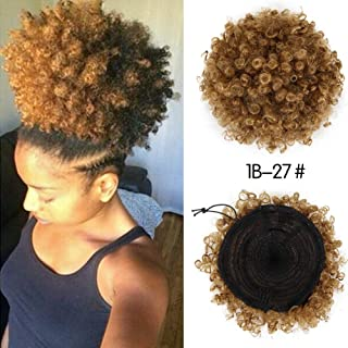 CINHOO High Puff Afro Ponytail Drawstring Short Afro Kinky Curly Pony Tail Clip in on Synthetic Curly Hair Bun Made of Kanekalon Fiber Puff Ponytail Wrap Updo Hair Extensions with Clips (T1B/27)