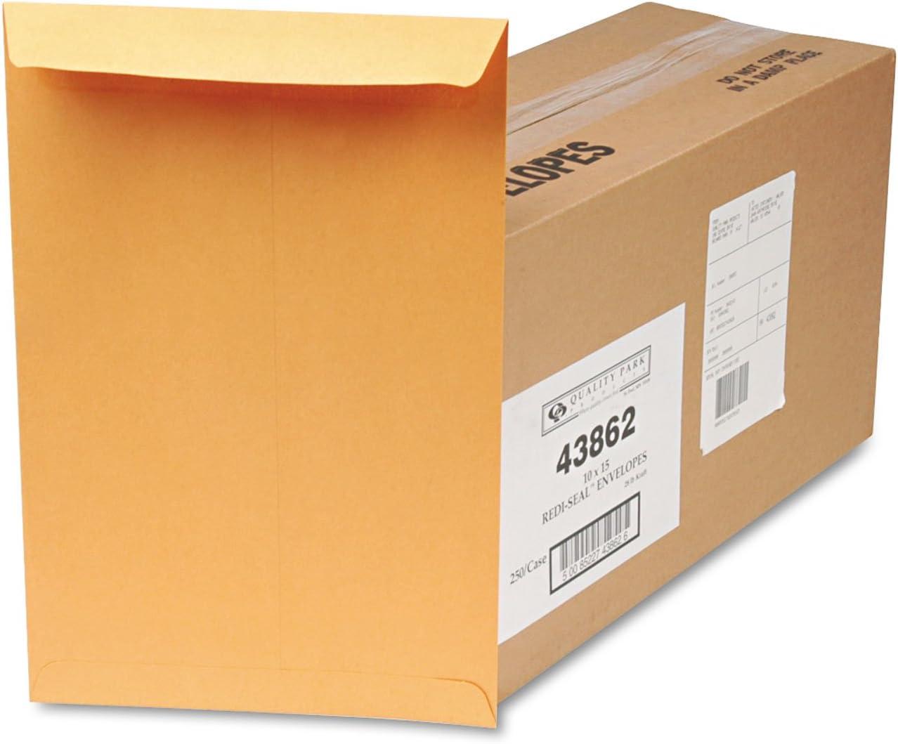 Quality Park 43862 Redi-Seal Envelope Large discharge sale 28Lb half Plain x15- 10-Inch