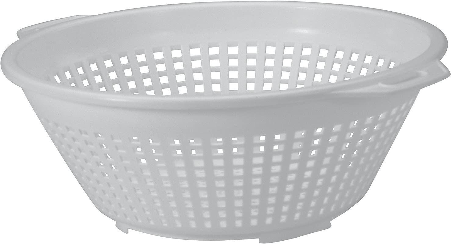 United Solutions KW0007 Seven Quart White Plastic Colander 7QT Plastic Pasta Strainer In White