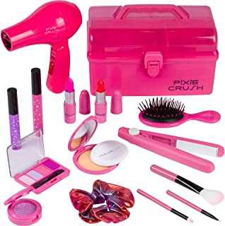 PixieCrush Kids Makeup Kit for Girls with Pretend Hair Dryer and Flat Iron; Play Makeup for Kids & Little Girls Ages 3 4 5 6 7 8 9 10; Toddler Girls Makeup Toy Kit with Carrying Case