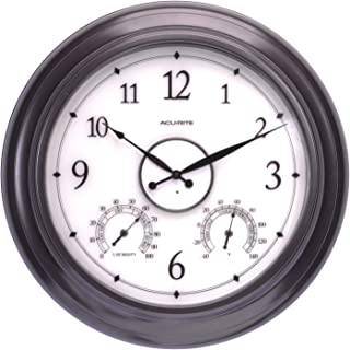 AcuRite 75133M LED Illuminated Outdoor Clock with Temperature and Humidity, 24