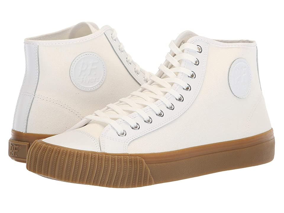 1950s Mens Shoes: Saddle Shoes, Boots, Greaser, Rockabilly PF Flyers Center Hi White CanvasLeather Mens  Shoes $70.00 AT vintagedancer.com