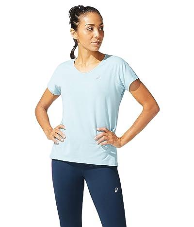 ASICS V-Neck Short Sleeve Top (Smoke Blue) Women