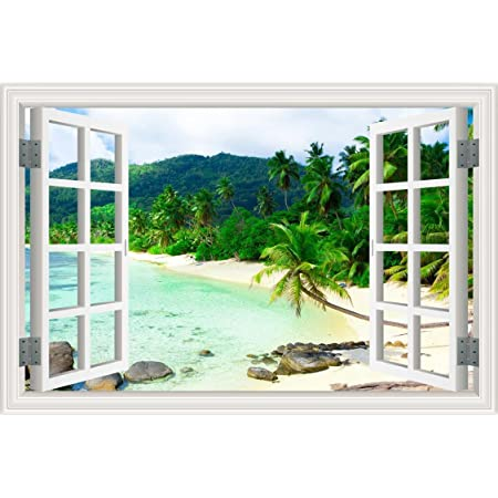 3d Fake Window Removable White Sand Beach Coconut Tree Self Adhesive Wall Sticker Home Kitchen