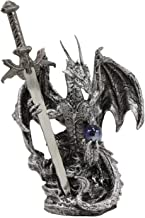 Ebros Gift Legendary Silver Dragon Carrying Magical Orb and Excalibur Sword Letter Opener Figurine Sculpture Home and Office Decorative Sculpture Medieval Renaissance Dungeons and Dragons Fantasy