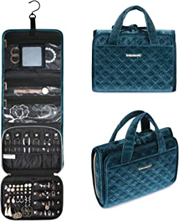 BAGSMART Velvet Hanging Jewelry Organizer Roll with Hook Foldable Travel Jewelry Case for Rings, Necklaces, Bracelets, Earrings, Peacock Blue
