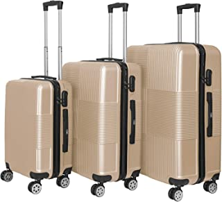 YINTON 3x Set of Luggage, Durable ABS Fully Covered Suitcase 362 Degree Silence Wheels Push-Button Handle Easy to Lock and...