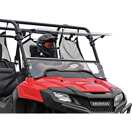 SuperATV Scratch Resistant Flip Windshield for 2014+ Honda Pioneer 700/700-4 | Made in USA | 250 Times Stronger than Glass | Can be set to Open, Vented, or Fully Closed!