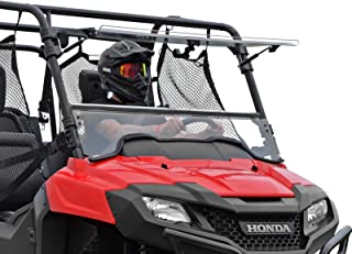 SuperATV Heavy Duty Scratch Resistant 3-IN-1 Flip Windshield for Honda Pioneer 700/700 4 (2014+) - Can be Set to Open, Vented, or Closed! - Hard Coated for Extreme Durability and Long Life
