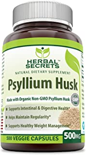 Herbal Secrets Psyllium Husk 500 Mg Veggie Capsules (Non-GMO) - Supports Intestinal & Digestive Health, Weight Management; Helps Maintain Regularity* (500 Count)