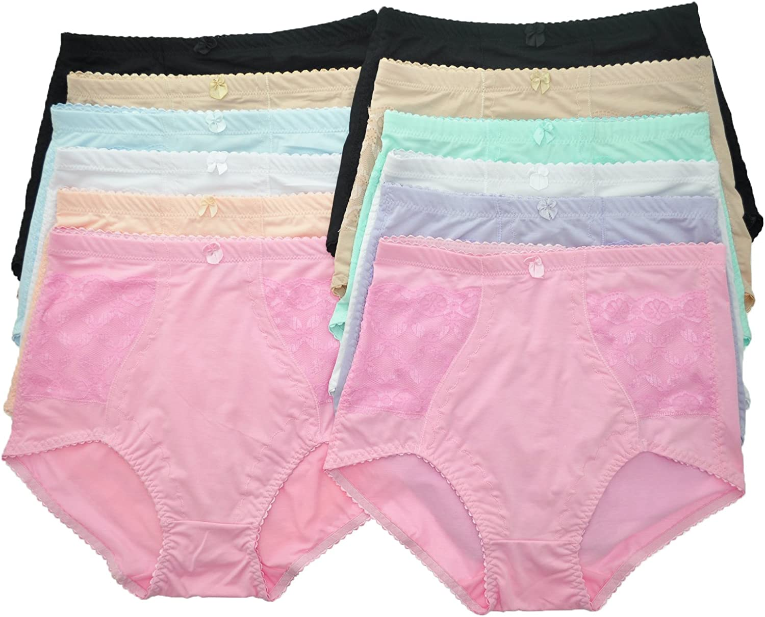 Angelina 12Pack Regular and Plus Size HighWaisted Double Side Pockets Girdles