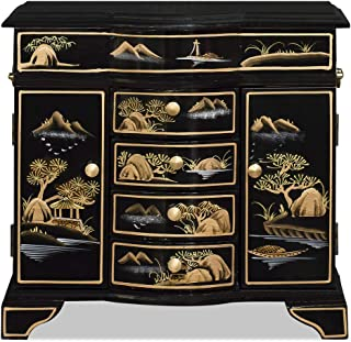 ChinaFurnitureOnline Chinoiserie Scenery Jewelry Cabinet, Black and Gold