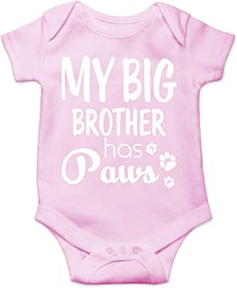 My Big Borther Has Paws - Animal Lover - I Love My Dog - Cute One-Piece Infant Baby Bodysuit