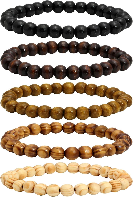 MILAKOO 5 Tampa Mall Pcs Max 83% OFF Wood Beaded Bracelet for Buddhist Medi Tibetan Men