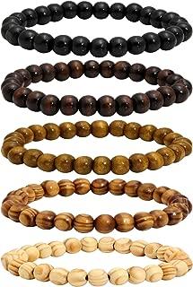 7Pcs Lava Rock Stone Beads Essential Oil Diffuser Bracelet for Men Women Wood Beads Bracelet