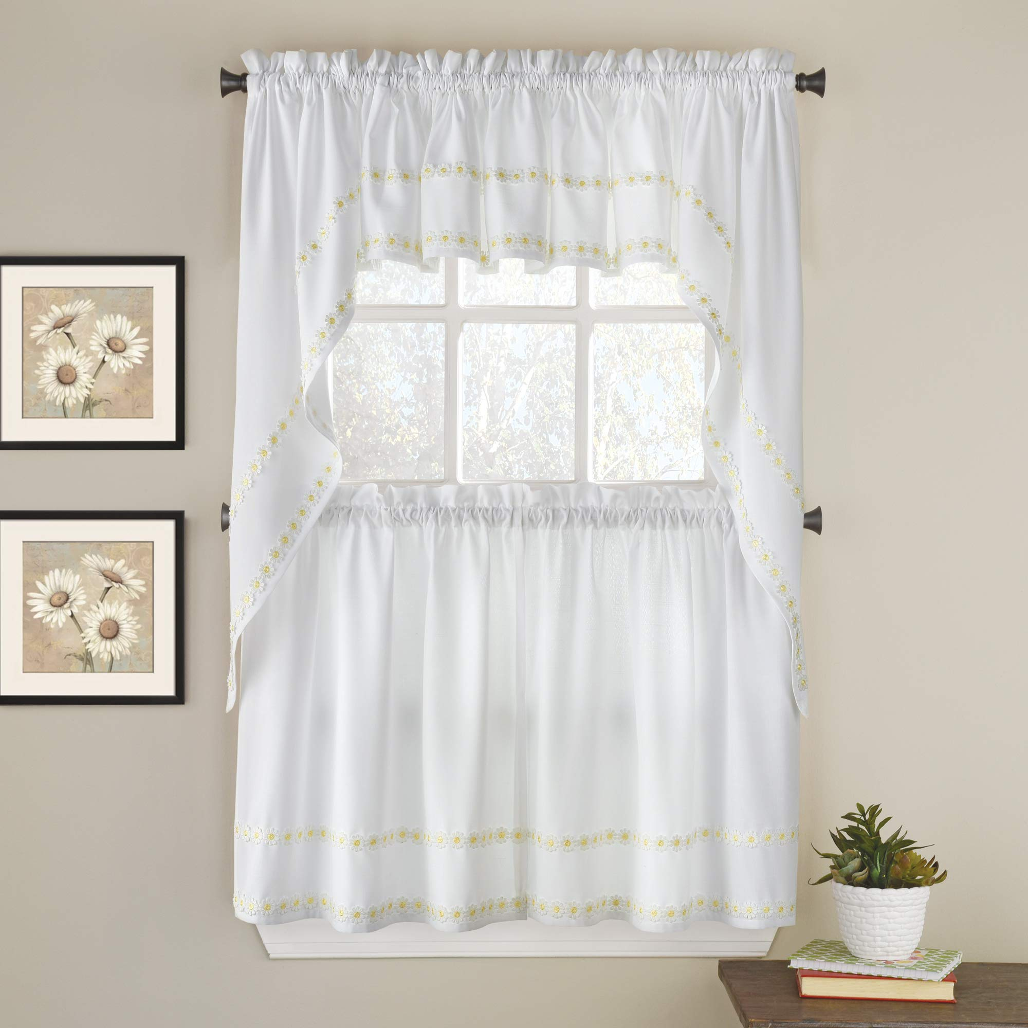 Amazon Com Sweet Home Collection Kitchen Window Curtain 5 Piece Set With Valance Swag And Choice Of 24 Or 36 Tier Pair Daisy Mae Yellow Home Kitchen