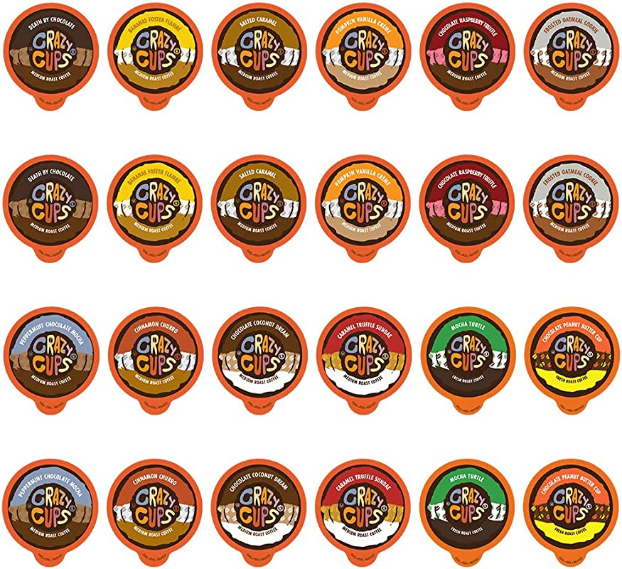 Crazy Cups Coffee Chocolate Coffee Flavored Coffee Variety Sampler Pack Recyclable Coffee Pods For Keurig K Cup Machines 48 Count