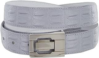 Belt Men 30 mm Wide Lilac PU Leather Crocodile Embossing Channel Buckle