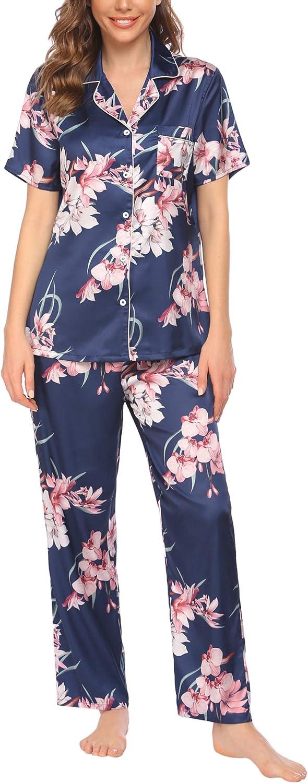 Avidlove Women Pajamas Set Finally popular brand Silk Stain Short Daily bargain sale Sleeve But Sleepwear