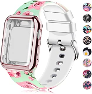 Compatible for Apple Watch Band with Screen Protector Case, Soft Silicone Sport Wristband for Apple Watch iwatch Series 5 4 (40mm,Pink Rose)