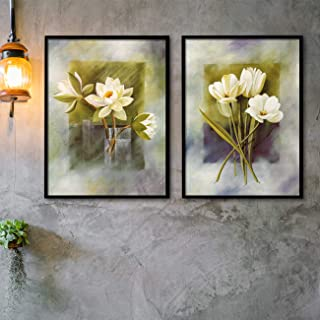 Painting Mantra Floral Theme Set of 2 Framed Canvas Painting Art Print - 13x17 Inchs