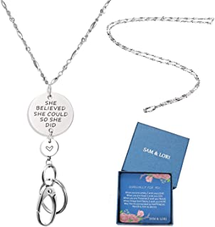 SAM & LORI Strong Lanyard Necklace Stainless Steel Beaded Chain Necklace Silver for ID Badge Holder and Key Chains Non Breakaway Inspirational Pendant for Women Nurse She Believed She Could So She Did