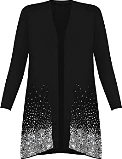 Ladies Fancy Long Sleeve Open Front Sequin Pattern Sparkle Cardigan Top