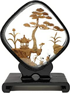 TJ Global Beautiful Hand Carved Oriental Traditional Chinese Cork Sculpture Carving with Cranes, Trees, and Pagoda in Glass Display (L6.5 x W2 x H8.5)