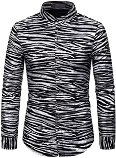 WSPLYSPJY Mens Lapel Button Slim Fit Zebra Print Blouses Long Sleeve Fashions Tops Casual T Shirt