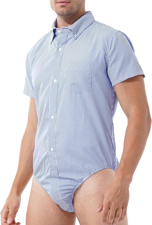 YiZYiF Men's Max sale 88% OFF Casual Striped Turn-Down Button Collar Crotch High
