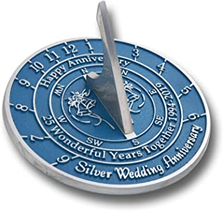 The Metal Foundry 25th Silver Wedding Anniversary 2019 Sundial Gift Idea is A Great Present for Him, for Her Or for A Couple to Celebrate 25 Years of Marriage