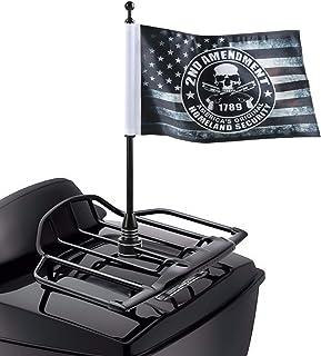 Antique Skull American Flag with Black Motorcycle Flagpole Mount For Harley Davidson Honda Goldwing CB VTX CBR Yamaha - Fi...