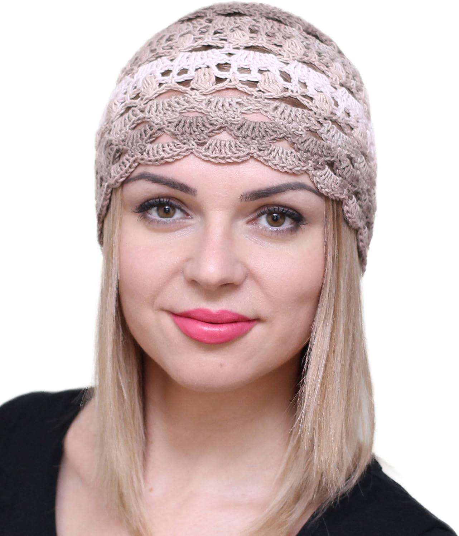 NFB Fascinator Hats for Women Ladies Summer Beanie Cotton Cloche Crochet caps