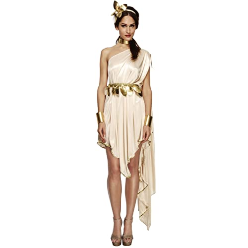 Fever Smiffys Womenu0027s Goddess Costume, Dress, Belt, Arm Cuffs, Choker And  Headpiece