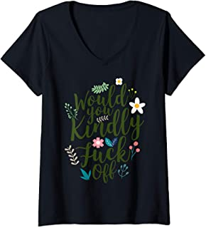 Womens Would You Kindly Fuck Off Funny Women's V-Neck T-Shirt