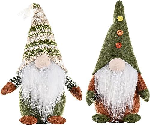 Christmas Gnome 2pcs Christmas Decoration Present Handmade Tomte Plush Doll, Home Ornaments Tabletop Santa Figurines 11.4 Inches