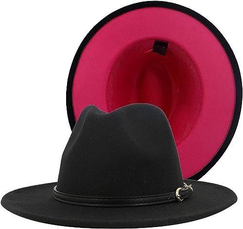 high quality OPTIMISTIC Mens Womens Wide Brim 2021 Floppy Panama Hat with Belt Buckle Fedora sale Hat Felt Panama Hat online