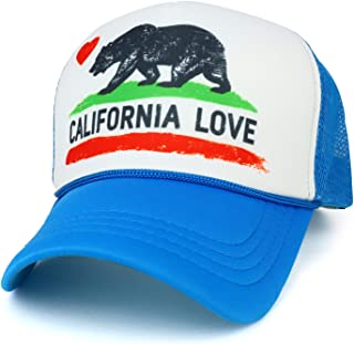 California Love Bear Flag Printed Foam Mesh Trucker Cap
