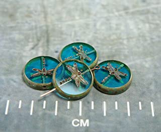 Picasso Aqua Blue Brown Rustic Window Dragonfly Table Cut Flat Coin Round Czech Glass Beads 17mm 4pcs