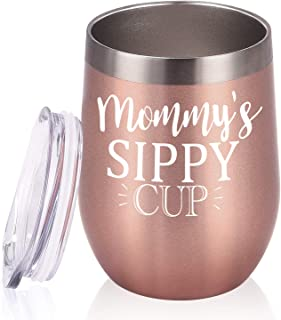 Mommy's Sippy Cup Wine Tumbler Mom Birthday Christmas Gifts for Mom New Mom Mothers to be Wife Women Her Mother's Day Thanksgiving Day, 12 Oz Insulated Stainless Steel Wine Tumbler, Rose Gold