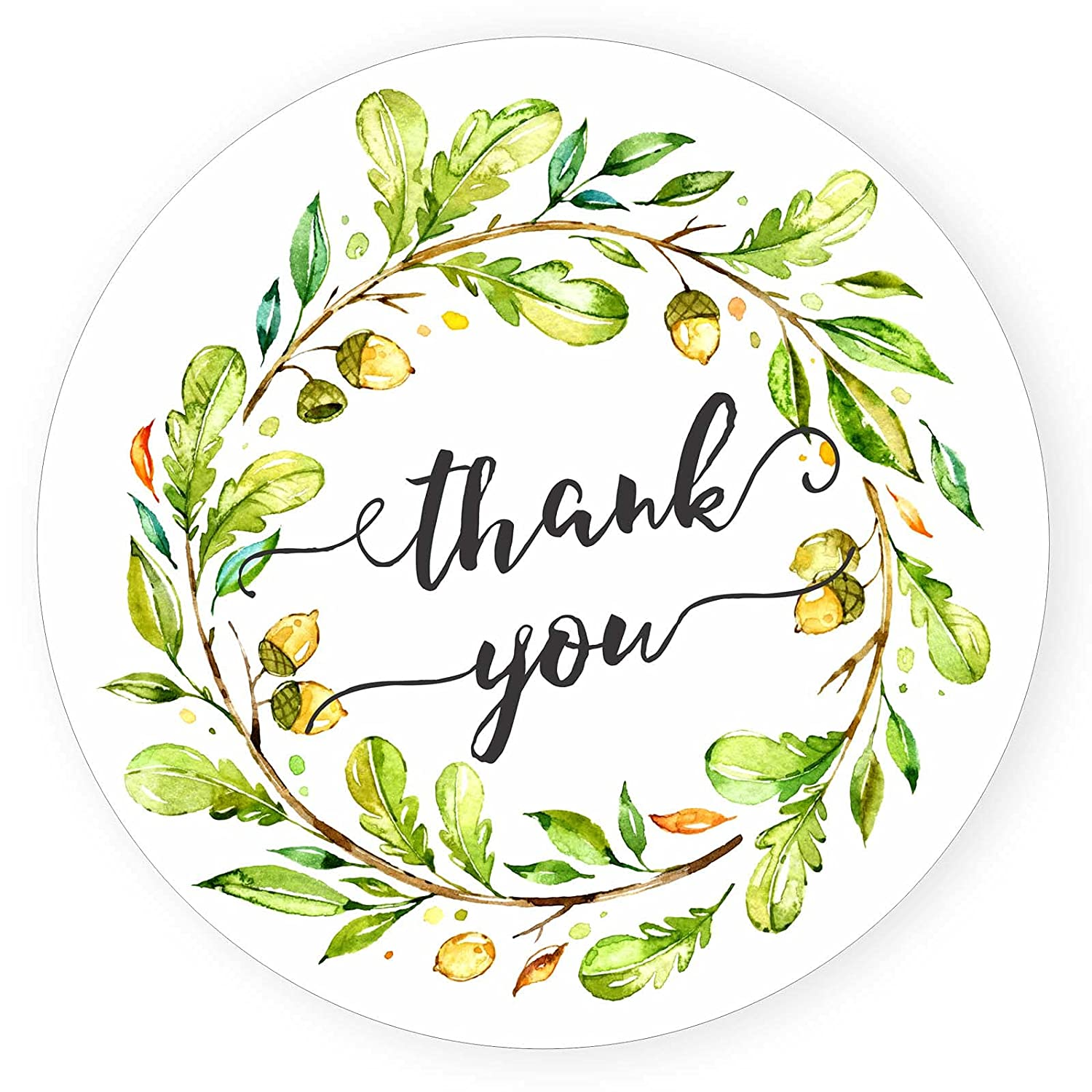 Wreath Thank Brand Cheap Sale Venue You Stickers - Leaf Max 87% OFF Seal Nature Watercolor Envelope