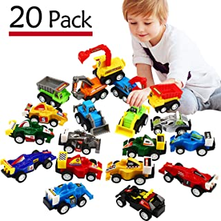 Pull Back Car, 20 Pcs Assorted Mini Truck Toy and Race Car Toy Kit Set, Funcorn Toys Play Construction Vehicle Playset Edu...