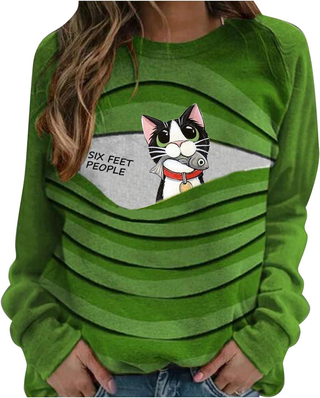 Sweater Many Ranking TOP18 popular brands for Women Cute Cat Long Print Casual Sweatshirts Sleeve