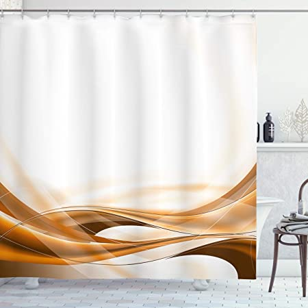 Amazon Com Lunarable Camel Color Shower Curtain Abstract Brown Color Flowing Simplistic Design Motion Vitality Waves Cloth Fabric Bathroom Decor Set With Hooks 84 Long Extra Orange White Home Kitchen