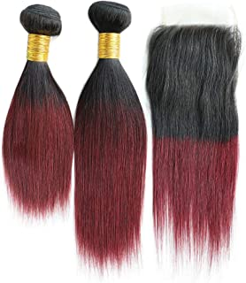 Brazilian Burgundy Straight Bundles with Closure,10 12+10 Inches Ombre Red Wine Virgin Human Hair 2 Bundles with 4x4 Lace closure 1b99j Black To Wine Red Color Short Hair Weave Extensions