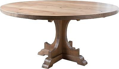 Amazon Com Caroline Round Pedestal Dining Table 60 Round Barn Wood Finish Tables