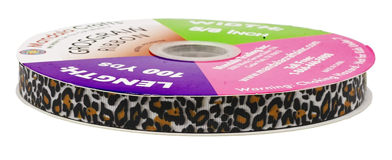 Mandala Crafts Grosgrain Ribbon from Polyester Fabric for Gift Wrap, Hair Ties, Bows, Luggage, Scrapbooks, Decoration, Sewing (5/8 Inch 16mm, Leopard Print)